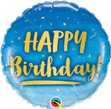 "Birthday Gold & Blue Foil Balloon (18"") 1pc"